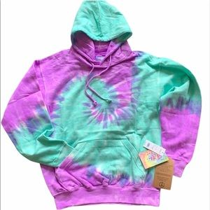 EXIST Tie Dye Hooded Front Pocket Sweatshirt
